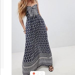 Band of Gypsies blue tie front maxi dress